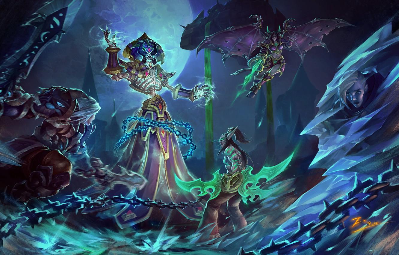 Фото обои оружие, магия, молнии, игра, меч, воин, sword, World of Warcraft, game, цепи, magic, демоны, weapon, …