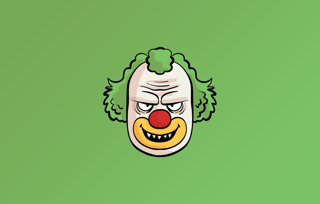 Фото обои minimalism, face, fear, digital art, artwork, Clown, simple background, teeth, green background