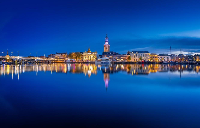 Фото обои огни, вечер, панорама, Нидерланды, Голландия, Kampen