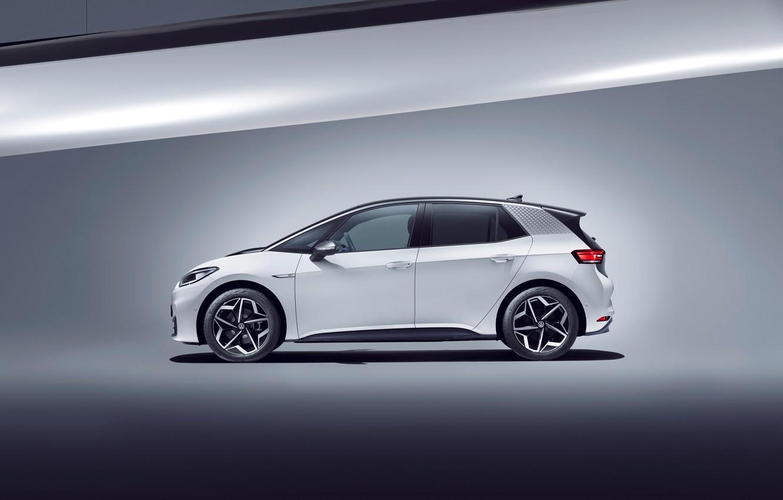 Фото обои белый, Volkswagen, сбоку, 2020, Worldwide, ID.3, 1ST