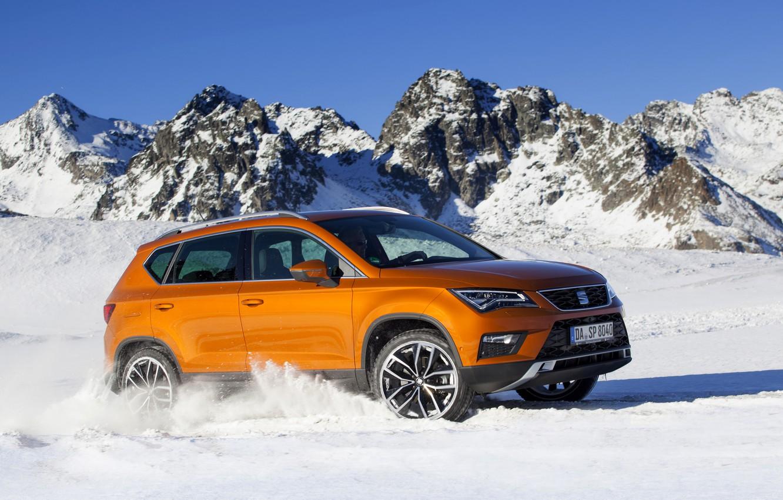 Фото обои снег, горы, вершины, SUV, Seat, 2017, 4Drive, Ateca