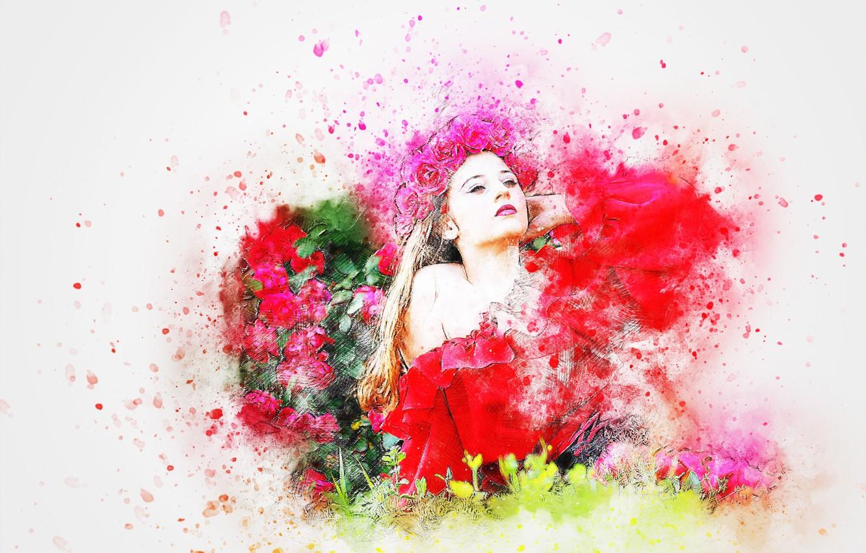 Фото обои цветы, фон, рисунок, венок, девушка art