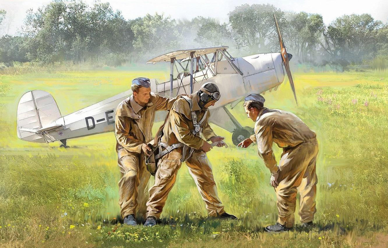 Фото обои Германия, люфтваффе, German Luftwaffe Cadets, Fw.44, немецкие летчики