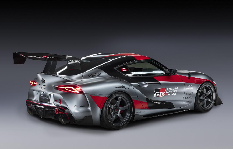 Фото обои серый, фон, купе, Toyota, антикрыло, 2020, GR Supra Track Concept