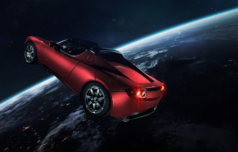 Фото обои Авто, Планета, Космос, Машина, Свет, Земля, Light, Арт, Space, Art, Earth, Спутник, Auto, Planet, Tesla, …