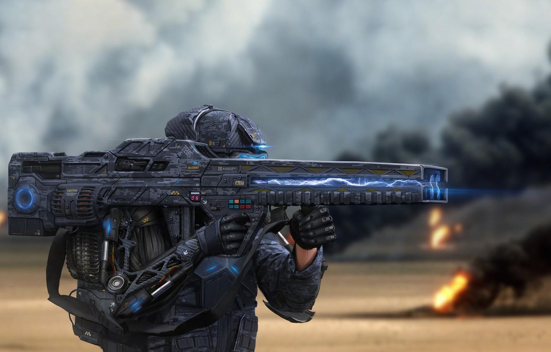 Обои амуниция, солдат, киборг, Фантастика, автомат. Фантастика foto 13
