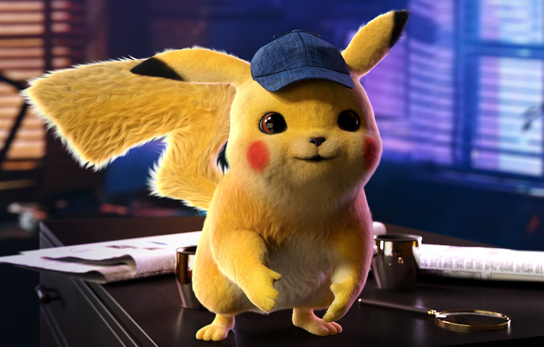Фото обои кино, кепка, пикачу, постер, покемон, детская, Detective Pikachu, the Pokémon Cinematic Universe