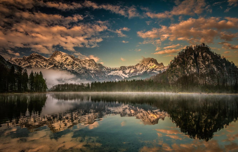 Фото обои лес, горы, озеро, отражение, Австрия, Альпы, Austria, Alps, Upper Austria, Верхняя Австрия, Lake Almsee, Озеро …