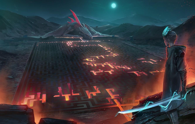 Фото обои fire, moon, sword, fantasy, weapon, night, mountain, dragon, labyrinth, moonlight, artist, digital art, lava, artwork, …