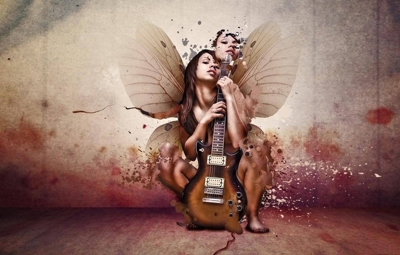 Фото обои девушка, гитара, крылья