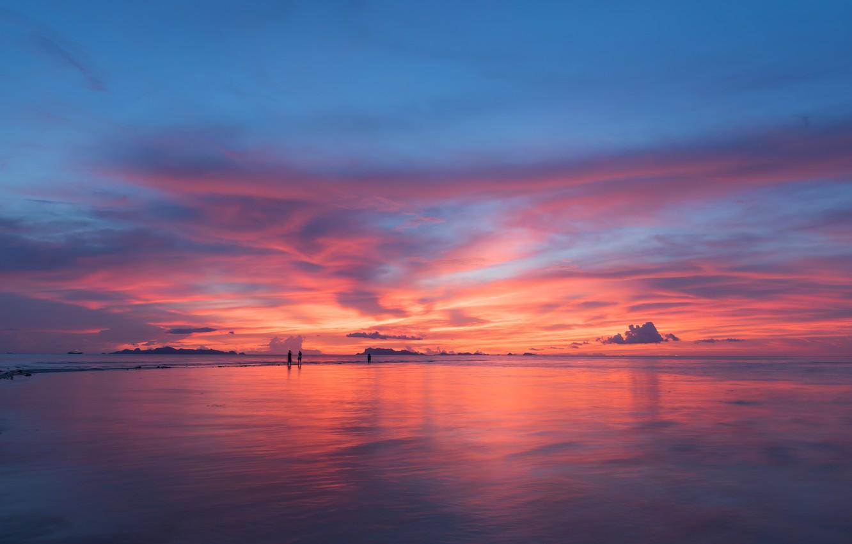 Фото обои море, пляж, небо, закат, beach, sky, sea, sunset, pink
