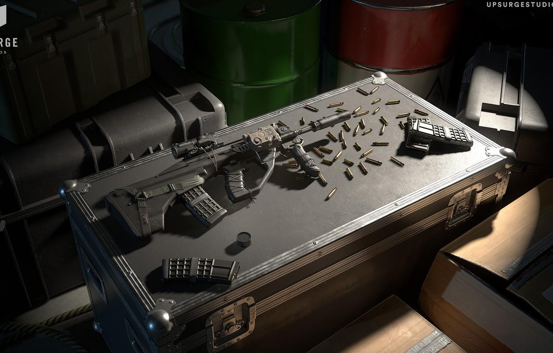 Фото обои рендеринг, оружие, автомат, винтовка, weapon, render, custom, рендер, 3d art, AUG, assault rifle, assault Rifle, …
