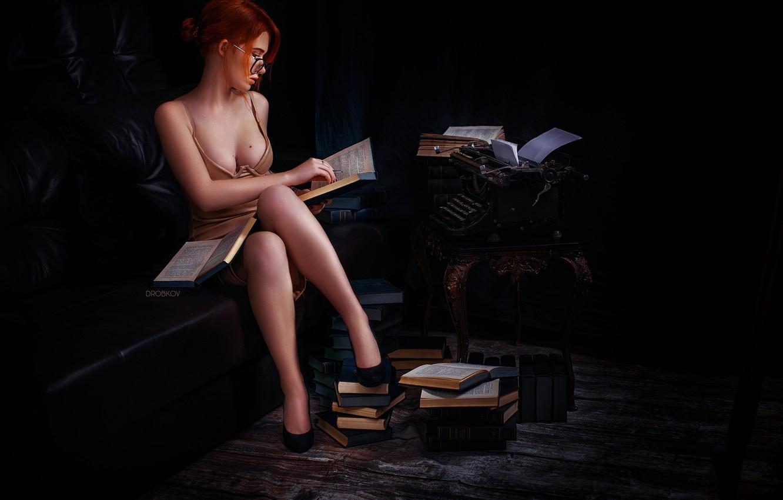 Фото обои грудь, девушка, книги, очки, ножки, пишущая машинка, Эльвира Позднышева, Alexander Drobkov-Dark