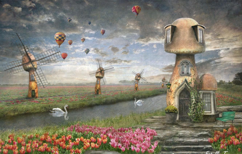 Фото обои воздушные шары, лебедь, фотоарт