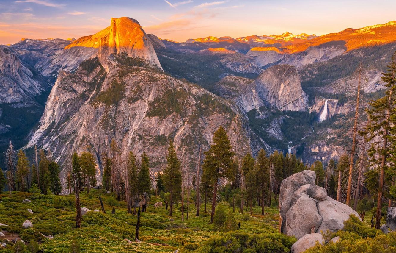 Фото обои forest, landscape, Yosemite, waterfall, El Capitan