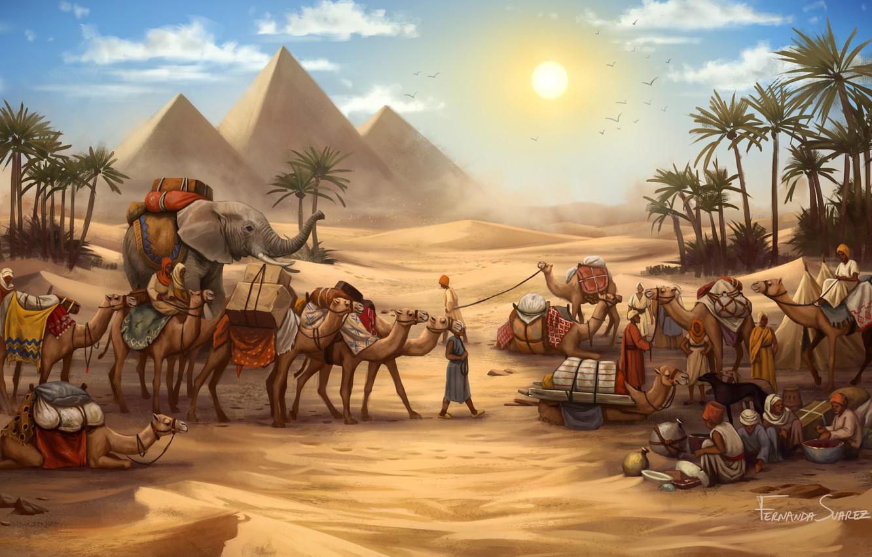 Фото обои Рисунок, Игра, Караван, Пирамиды, Египет, Слон, Art, Game, Illustration, Верблюды, Game Art, Board Game, Century ...