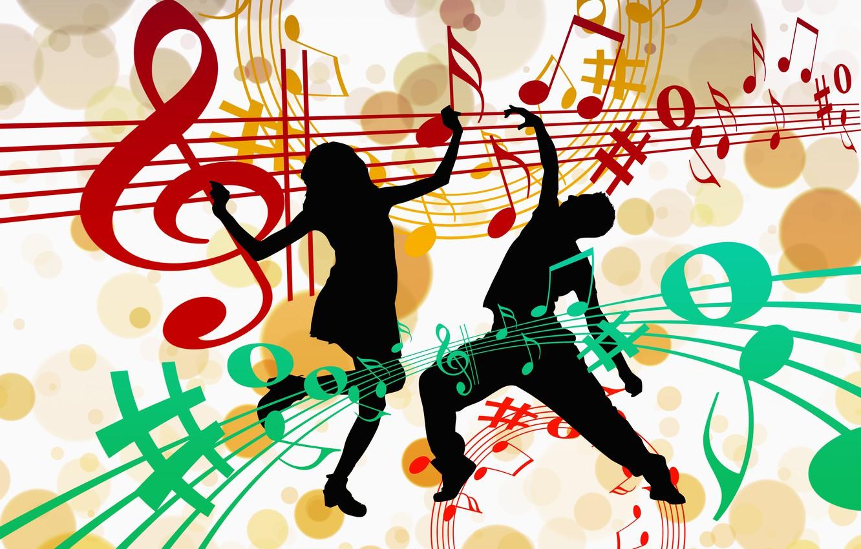 Фото обои ноты, музыка, танец, силуэты