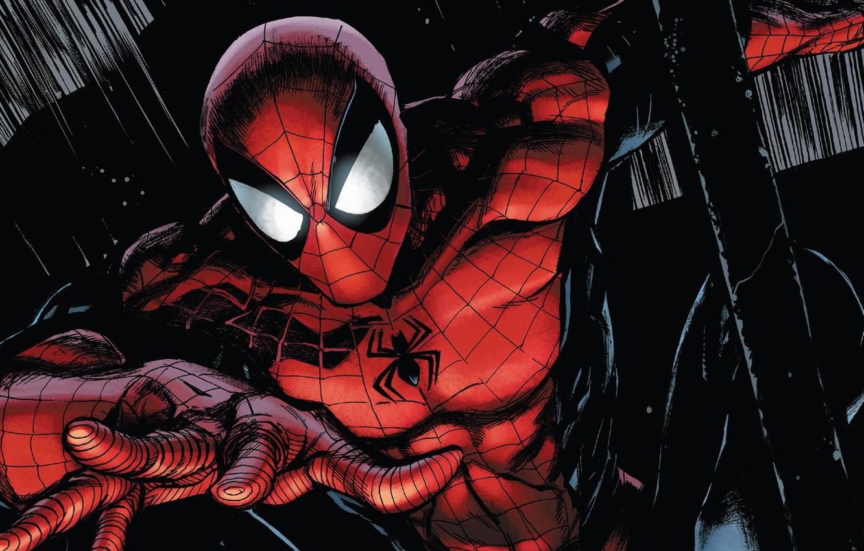 Фото обои fantasy, Marvel, comics, mask, superhero, black background, costume, Spider Man