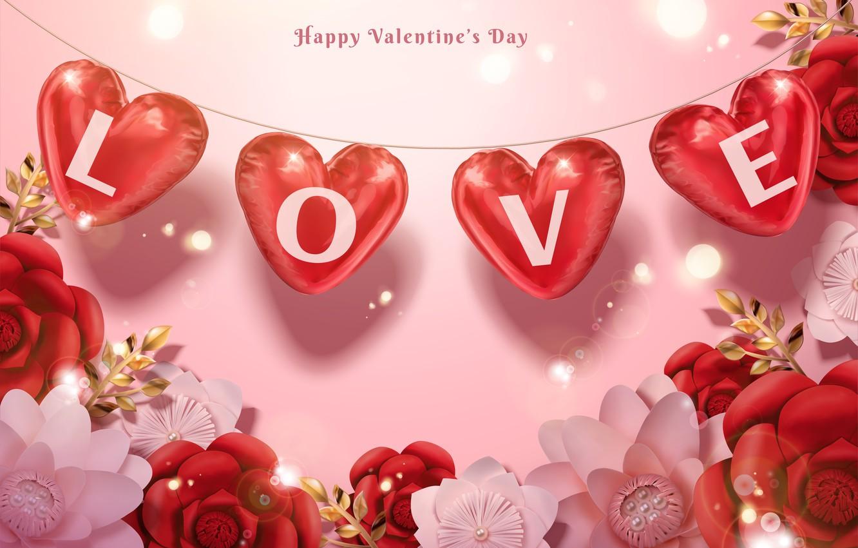 Фото обои цветы, праздник, Love, сердечки, Valentines Day