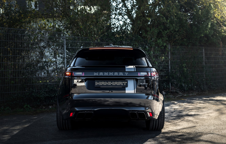 Фото обои чёрный, Land Rover, Range Rover, вид сзади, SUV, Manhart, 2020, Velar, SV 600