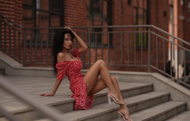 Фото обои girl, cleavage, dress, legs, breast, photo, photographer, model, bokeh, brunette, chest, high heels, sitting, portrait, …