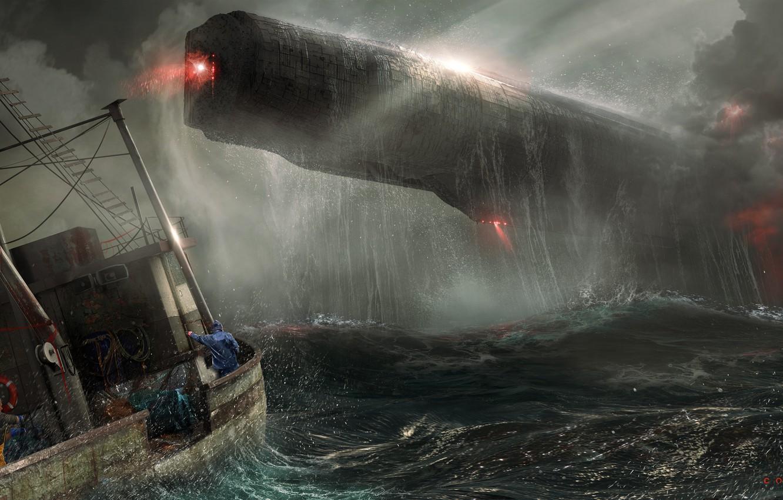 Фото обои Море, Шторм, Судно, Fantasy, Арт, Art, Космический Корабль, Фантастика, Concept Art, Spaceship, Vehicles, Science Fiction, ...