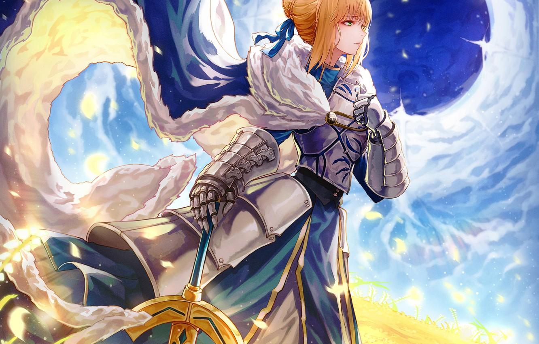 Фото обои поле, небо, девушка, дыра, меч, Saber, Fate / Stay Night, Судьба Ночь схватки