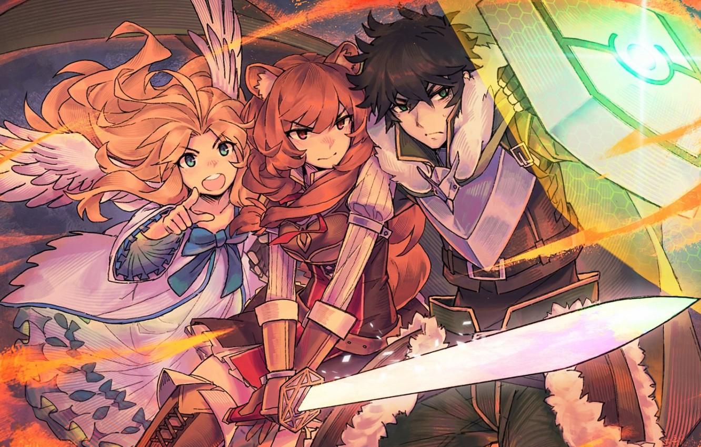 Фото обои крылья, меч, доспехи, рыжая, парень, щит, ушки, защитник, оборотни, Восхождение Героя Щита, Tate no Yuusha …