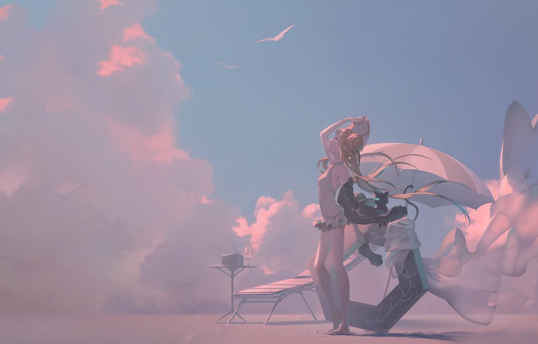 Фото обои кошка, небо, девушка, зонт, Abigail Williams, Grand Order: First Order