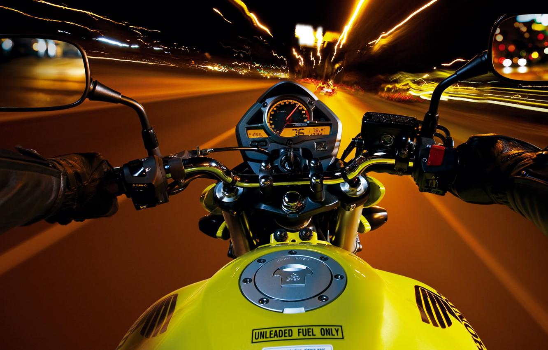 Фото обои Speed, Night, Bike, Road