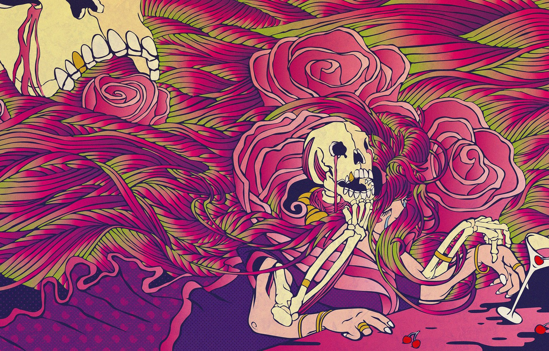 Фото обои цветы, ягоды, бокал, череп, розы, скелет, skull, acid, glass, berries, кислота, skeleton, психоделический арт, psychedelic …