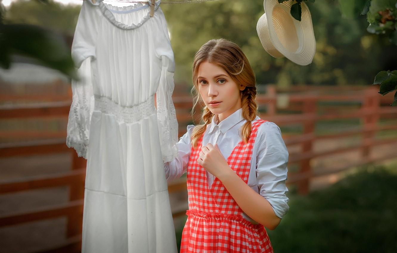 Фото обои взгляд, Девушка, шляпа, платье, красивая, Ksenia Kokoreva, Настасья Паршина, Yuriy Zaharov
