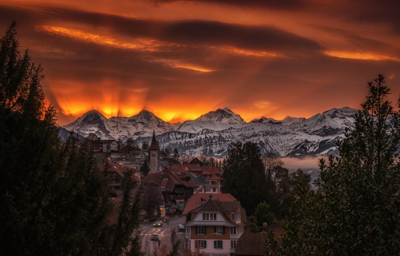 Фото обои Switzerland, sunrise, Bern, Hilterfingen village