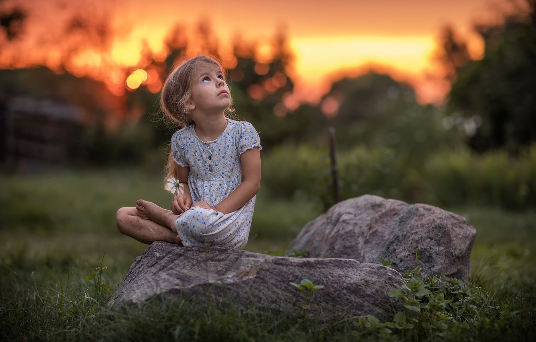 Фото обои цветок, лето, взгляд, закат, природа, камни, босиком, платье, девочка, ребёнок, босая, Radoslaw Dranikowski