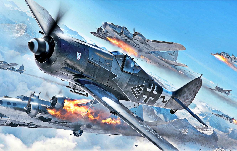 Фото обои огонь, атака, B-17G, WWII, Sturmbock, 2x20-мм пушки MG 151, IV.(Sturm)/JG3, 2x30-мм пушки MK 108, Fw-190A-8/R8, …
