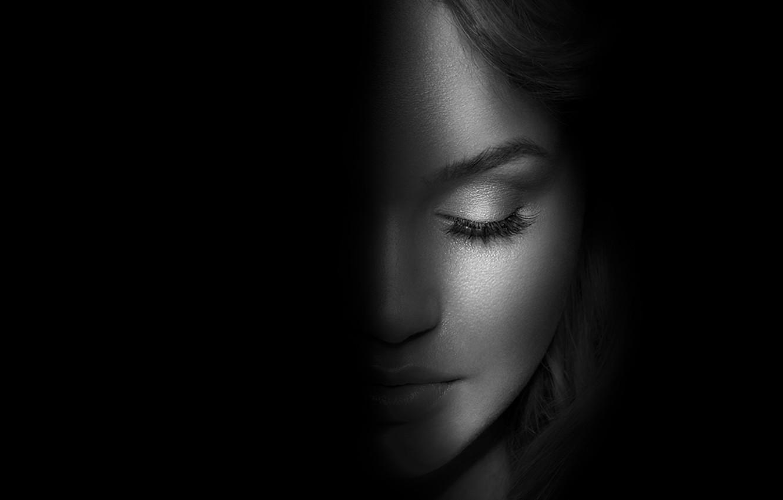 Фото обои woman, shadow, silhouette, blackand white