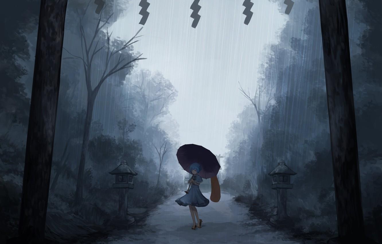Фото обои одиночество, ливень, tatara kogasa, под зонтом, проект Восток, мрачное место, туман вечером, touhou project