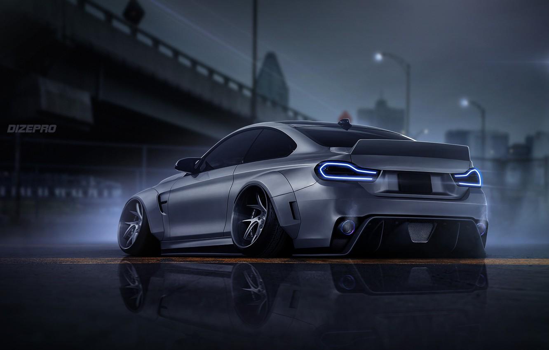 Фото обои Авто, BMW, Машина, Серый, Арт, COUPE, Рендеринг, BMW M4, Dark side, M4, Dmitry Strukov, Dizepro, ...