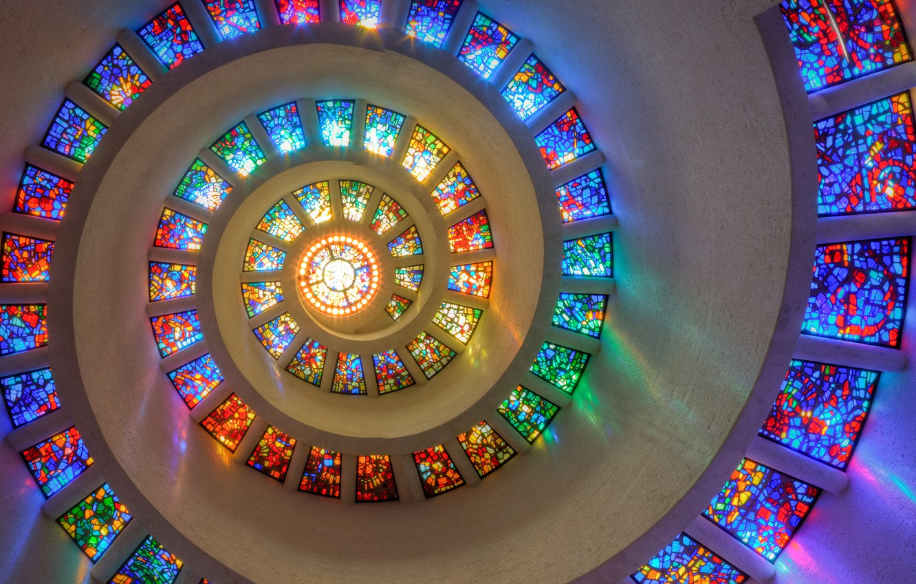 Фото обои colorful, window, Texas, Dallas, spiral, stained glass, mesmerizing, Thanksgiving Square Chapel