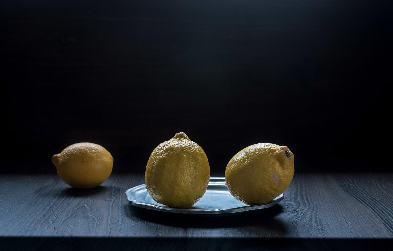 Фото обои тарелка, фрукты, лимоны