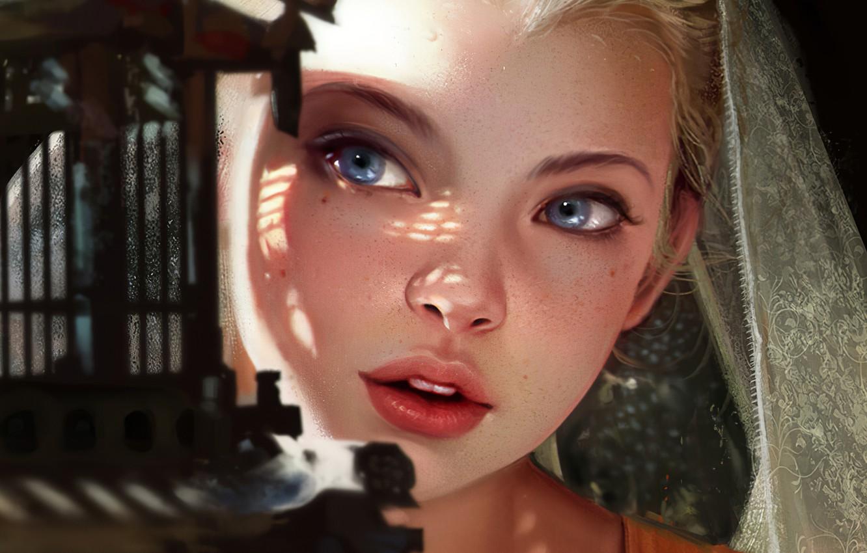 Фото обои Девушка, Блондинка, Губы, Лицо, Girl, Глаза, Арт, Beautiful, Art, Eyes, Blonde, Красивая, Face, Lips, by …