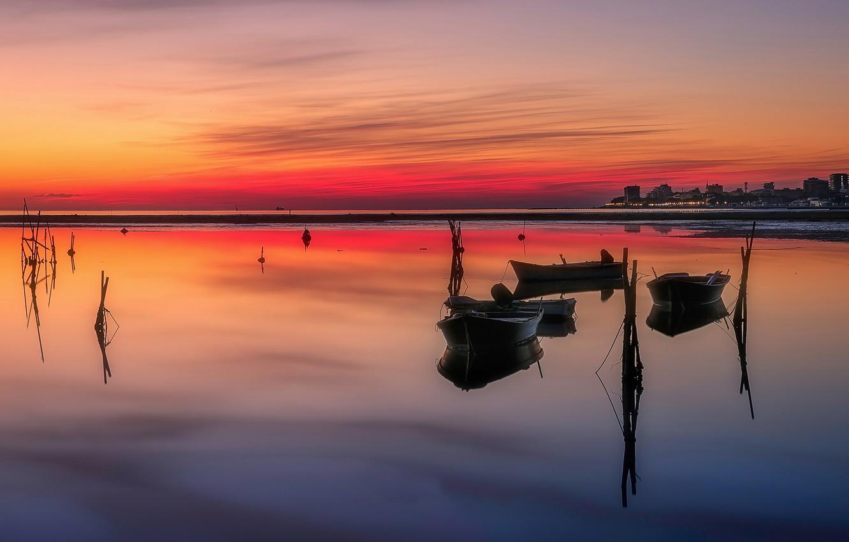 Фото обои лодки, Италия, зарево, Фриули-Венеция-Джулия