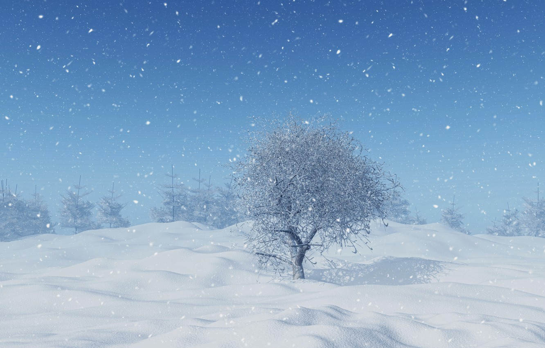 Фото обои зима, снег, деревья, снежинки, landscape, winter, snow, tree