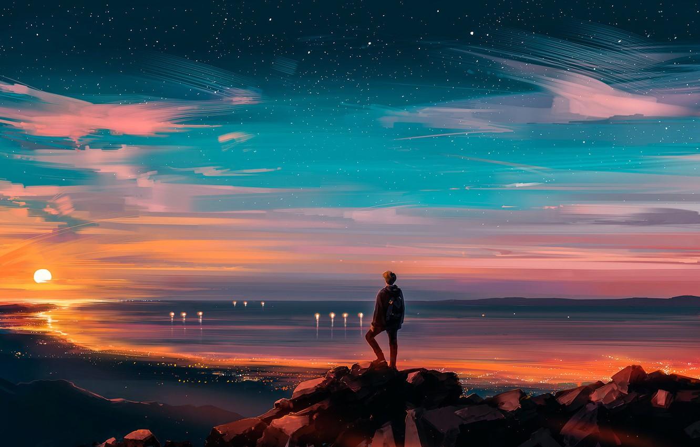 Фото обои Закат, Солнце, Небо, Звезды, Человек, Fantasy, Пейзаж, Арт, Sunset, Concept Art, Characters, Alena Aenami, MrSuicideSheep, ...
