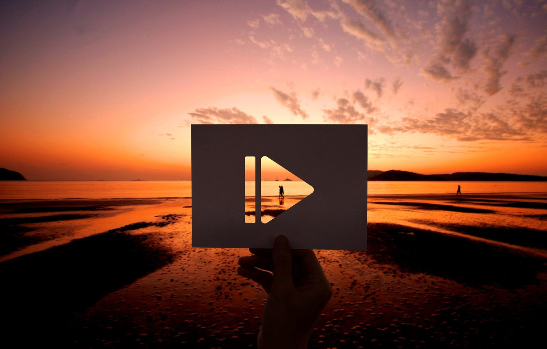 Фото обои пляж, закат, знак, карточка