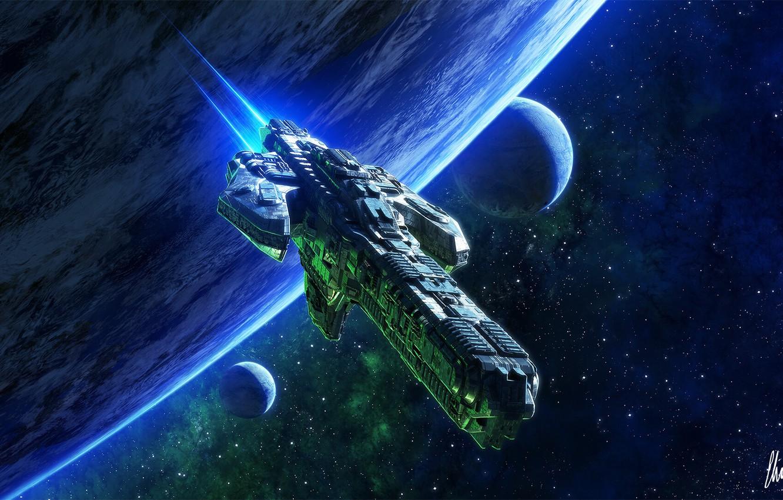 Фото обои космос, фантастика, планеты, корабль, арт, space, art, Sci-Fi