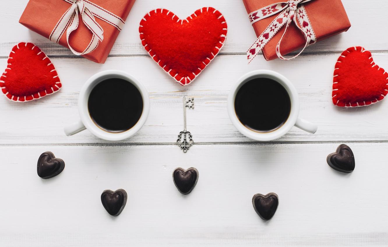 Фото обои любовь, подарок, сердце, сердечки, red, love, heart, wood, cup, romantic, valentine's day, gift, coffee