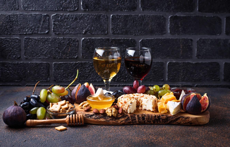 Фото обои вино, сыр, виноград, инжир