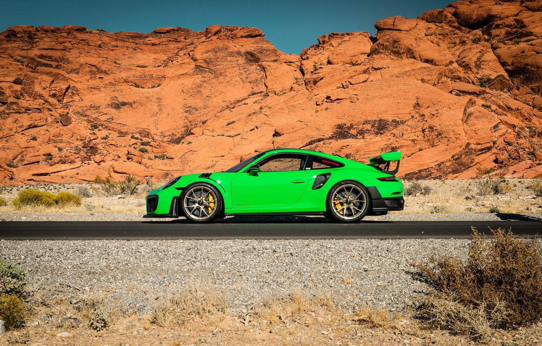 Фото обои 911, Porsche, Green, GT3, VAG, Canyon