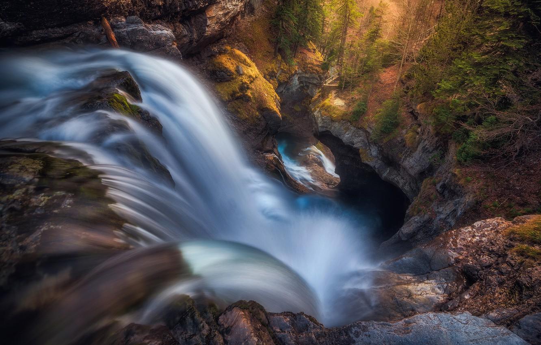 Фото обои лес, горы, природа, скалы, водопад, Испания, национальный парк, Ордеса